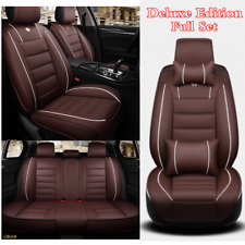 PU Leather Full Set Front & Rear Seat Cover Cushions For Car 5-Seats w/Pillows