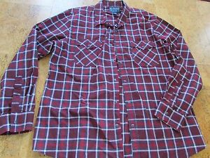 American Rag CIE Shirt Mens 100% Cotton Red & White Plaid w/ Snap Buttons - 2XL