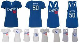 Ladies Slim Fit Deep V-Neck or Tank Top #50 Mookie Betts Los Angeles Dodgers
