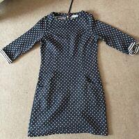 Boden Polka Dot Print Jersey Tunic Dress blue with pockets Size 12L
