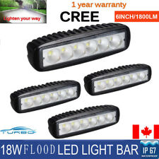 4Pcs 6 Inch 18W Single Row LED Work Light Bar Flood Offroad SUV Driving Fog Lamp