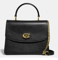 💚 COACH Parker Top Handle Leather Satchel Shoulder Bag Purse Handbag Black NWT