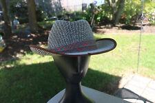 Men's Black / White Straw Plaid Lace Sun Cowboy Hat