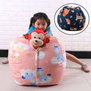 Stuffed Animal Canvas Toy Organizer Kids Adults Storage Bean Bag Chair Cover