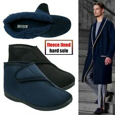 MENS TOUCH CLOSE STRAP FLEECE LINED WINTER WARM ANKLE BOOTS BOOTEE SLIPPER SHOES