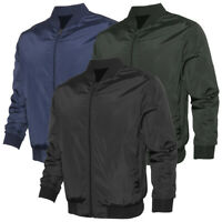 Mens Zipper Bomber Jacket Solid Color Lightweight Polyester Casual Regular Fit