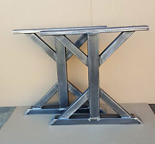 DIY 1pair/2legs Trestle Bench Set of Raw Steel Legs Handmade