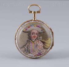 21k Gold & Porzellan Spindeluhr Herren in Rokoko-Tracht, 1760 Super Zustand MINT