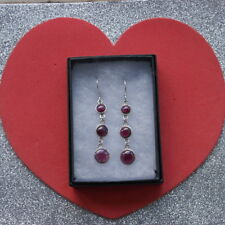 Beautiful Silver Earrings With 3 Garnet Gems 5.3 Gr. 4.5 Cm.Long + Hooks In Box