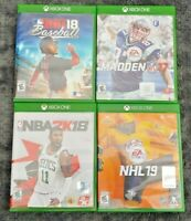 XBOX ONE 4 Game Lot RBI 18 Baseball NBA Madden NFL NHL Hockey Sports Games Lot