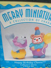 Hallmark Merry Miniatures 2Pc Set Happy Birthday Clowns Mib Clown Bear & Seal
