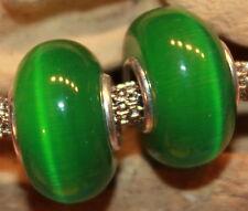 Cat Eyes Cats Eye Cat-eye Irish Green Grün Verde Groen 925 Sterling Silber Beads