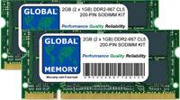 2GB (2x 1gb) DDR2 667mhz pc2-5300 200 pines 200 memoria SODIMM Kit para