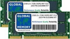 2 Go (2 x 1 Go) DDR2 667MHZ PC2-5300 200 BROCHES 200 MÉMOIRE SODIMM Kit pour