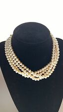 """Vintage  Multi Strand Glass Faux Pearl Necklace   Rhinestone Accented  Clasp 14"""""""
