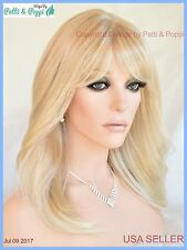 Skin Top Mid Length Wig Layered with Bangs Color T16.613 USA Seller