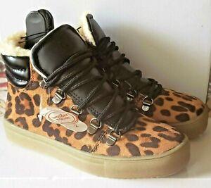Wonder Nation Faux Fur Lined High-Top Sneaker Leopard Print Big Girls Shoes 3
