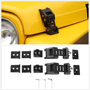 For 97-06 Jeep Wrangler TJ Black Hood Locking Catch Kit Prevent Jitter Aluminum