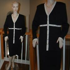 WOW ST. JOHN KNIT BLACK & WHT STUNNING SANTANA KNIT COLLECTION SKIRT SUIT SZ 14