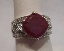 *Estate~5.64 cts Genuine Ruby & 30 Diamonds 925 Sterling Silver Ring Size 7