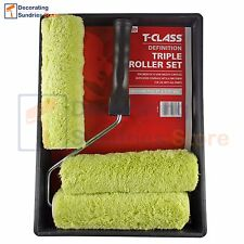 T-Class Definition Paint Roller Tray Set 9 Inch | Medium Pile Triple Roller Set