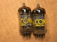 Matched Pair Sylvania 12AU7 Tubes 1958 Long Plate D Getter Test Great Balanced B