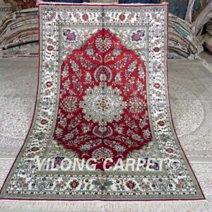 Yilong 5'x8' Red Handwoven Silk Carpet Traditional Bedroom Handmade Rug 408B