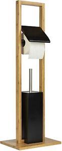 ONVAYA® WC-Garnitur Bambus Schwarz   Toilettenpapierhalter stehend   ohne Bohren