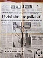 GIORNALE di SICILIA 7/8/1985 Palermo: ucciso il vicequestore Ninni Cassarà