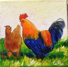 Tableau original de Caillon 15x15 cm coq bassecour peinture toile poule