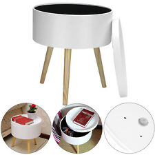 WoodLuv Retro MDF Round Side/Coffee/Dining/Lamp/End Table, Wood, White