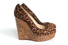 Christian Louboutin Leopard Pony Fur Wedge Heels 39. 5 uk 9.5