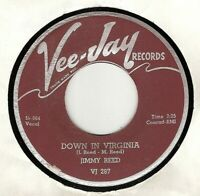45RPM, JIMMY REED ' DOWN IN VIRGINIA ' VG+ ' BLUES ' RARE '