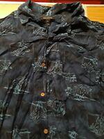 George Hawaiian Shirt Palm Tree Floral Print, Size Men's M/38-40, Dark Blue