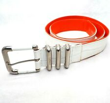 VERSACE belt waist leather crocodile press white orange silver GIANNI 34 38
