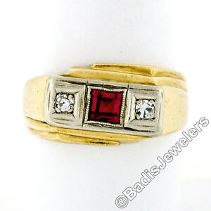 Mens Retro Vintage 14K TT Gold Square Red Stone .10ctw Diamond 3-Stone Band Ring
