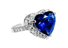 Ring with heart-shaped blue Zirconia , 925er Silver RG 54