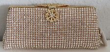 Crystal Beaded Floral Medallion Evening Clutch Handbag Purse - Gold - New!