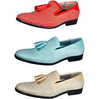 Men's Slippers, Rhinestone Shoes - Mens Slip On Shoes - Tuxedo Shoes with Tassel