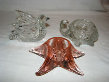 Three Avon Glass Votive Candle Holders Turtle, Bird & Starfish