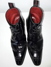 Jeffery West Negro Cuero Botas Con Cordones De Cuero Calado Punta del ala UK Size 8 RRP £ 250