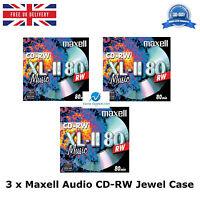 3 x Maxell Audio CD-RW Jewel Case ReWritable Recordable Blank Music 80 Min Disc