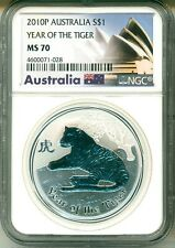 2010 P Australia S$1 Lunar Year Of The Tiger NGC MS70