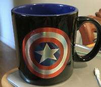 Captain America Shield Marvel Comics 20 oz Ceramic Coffee Mug Tea Cup Dark Blue