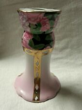 VINTAGE HAT PIN HOLDER Porcelain Floral Ribbon Design Pink Black Hand Painted