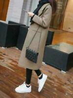 Women Winter Warm Wool Lapel Trench Long Slim Overcoat Outwear Parka Coat Jacket