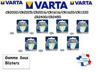 Piles/Cells bouton Varta 3V Lithium CR2032/CR2025/CR2016/CR1616/CR1620/CR1220