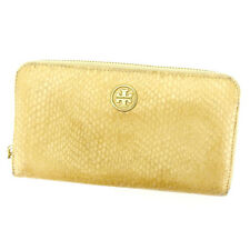 Tory Burch Wallet Purse Long Wallet Beige Gold Woman Authentic Used N304