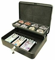 12 inch Large Cash Money Box With 2 Keys Black Petty Safe Tin Cathedral