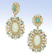 BAUBLEBAR Antiqued Gold-Tone 'TASMA' Imitation Pear & Turquoise Drop EARRINGS